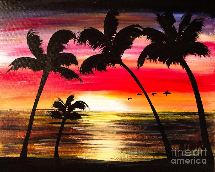 Miami Sunset Painting By Presa Hall - Painting miami