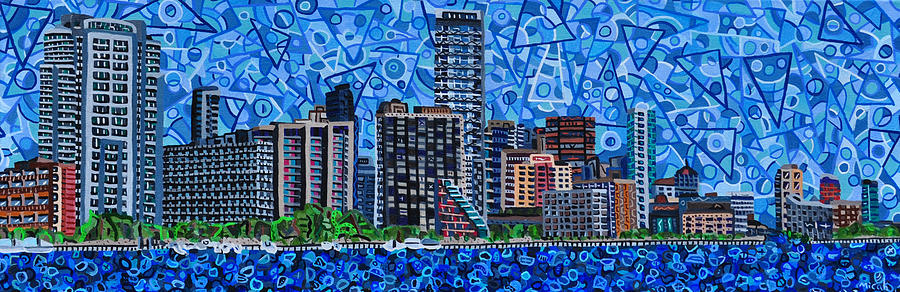 Cityscape Painting - Miami - View From Rickenbacker Causeway by Micah Mullen