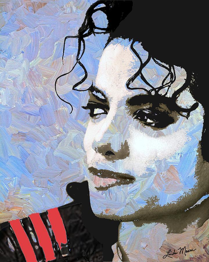 Michael Jackson Digital Art - Michael Jackson Blue And White by Linda Mears