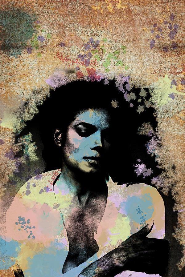 Feature Digital Art - Michael Jackson - Scatter Watercolor by Paulette B Wright