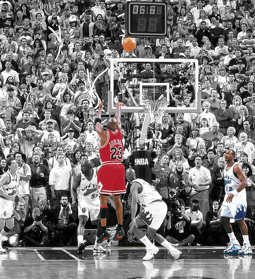 Michael Jordan Buzzer Beater Mixed Media by Brian Reaves