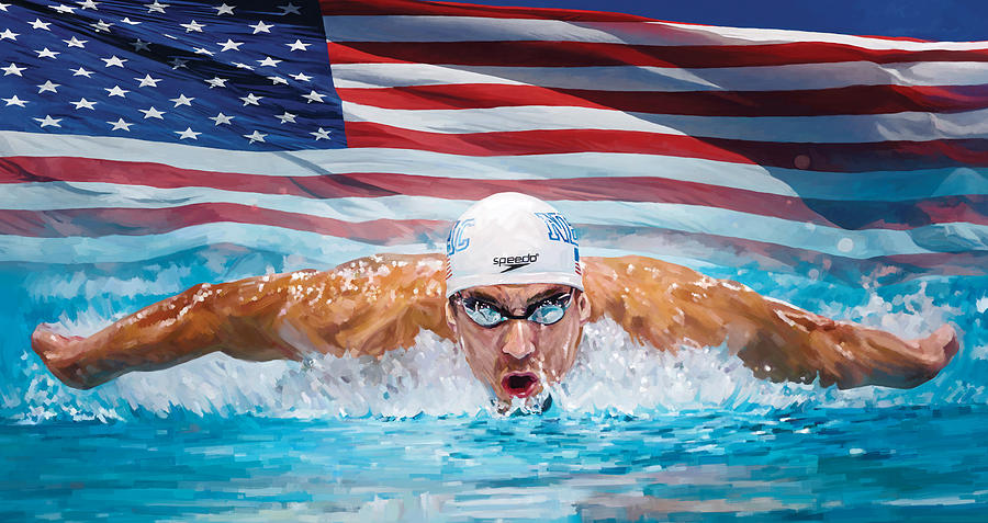 Olympic Gold Medalist Painting - Michael Phelps Artwork by Sheraz A