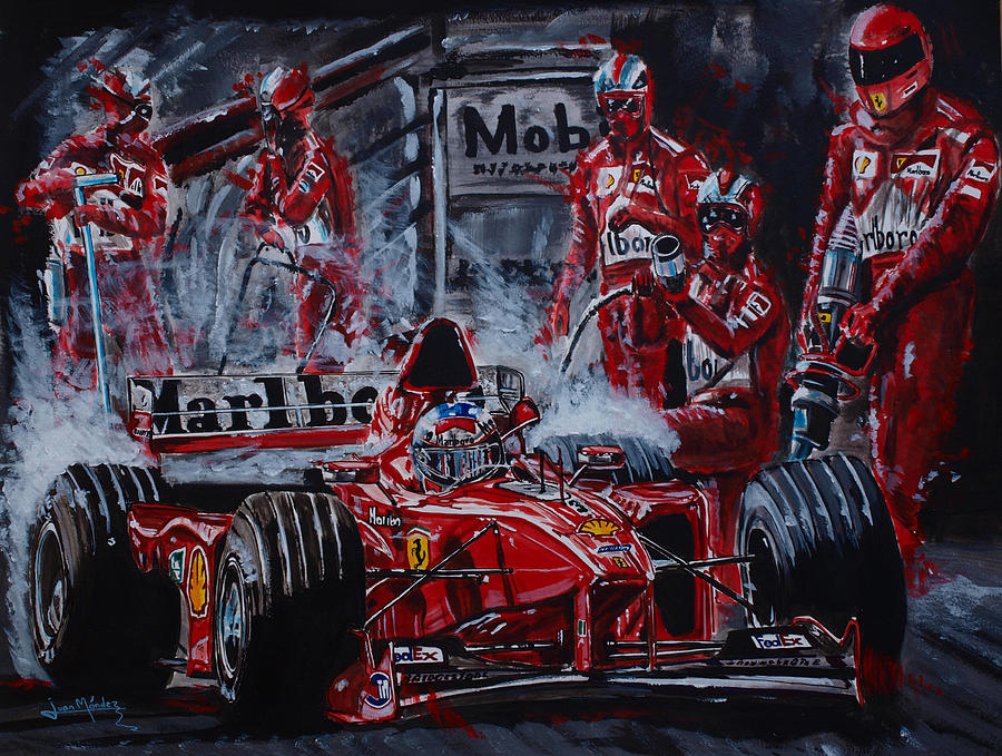 Michael Schumacher Painting - Michael Schumacher Out Of The Darkness by Juan Mendez