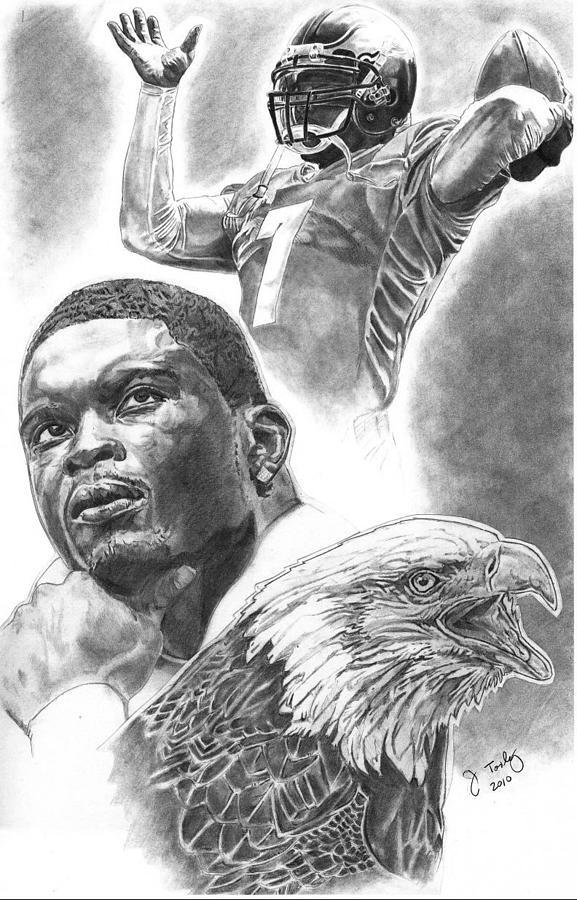 Michael Vick Drawing By Jonathan Tooley