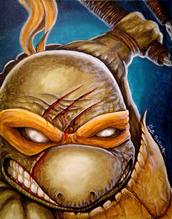 Tmnt Painting - Michelangelo Unleashed by Al  Molina