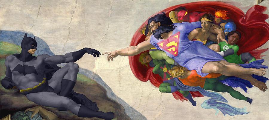 Batman Painting - Michelangelos Creation Of Batman  by Isaac Bluefoot