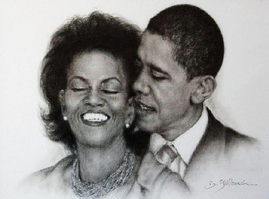 Artist Drawing - Michelle Et Barack Obama by Guillaume Bruno