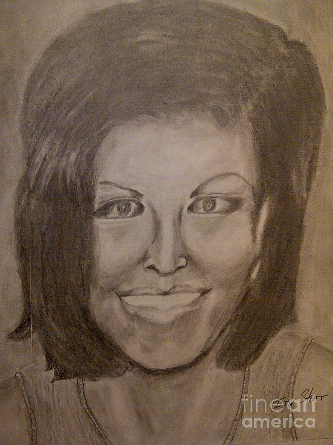 Michelle Obama Drawing by Irving Starr