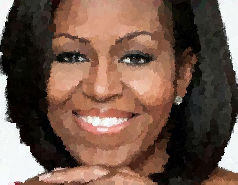 Michelle Painting - Michelle Obama by Samuel Majcen