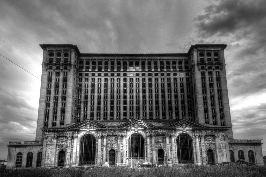 Michigan Central Station Photograph - Michigan Central Station BW by Jonathan Davison
