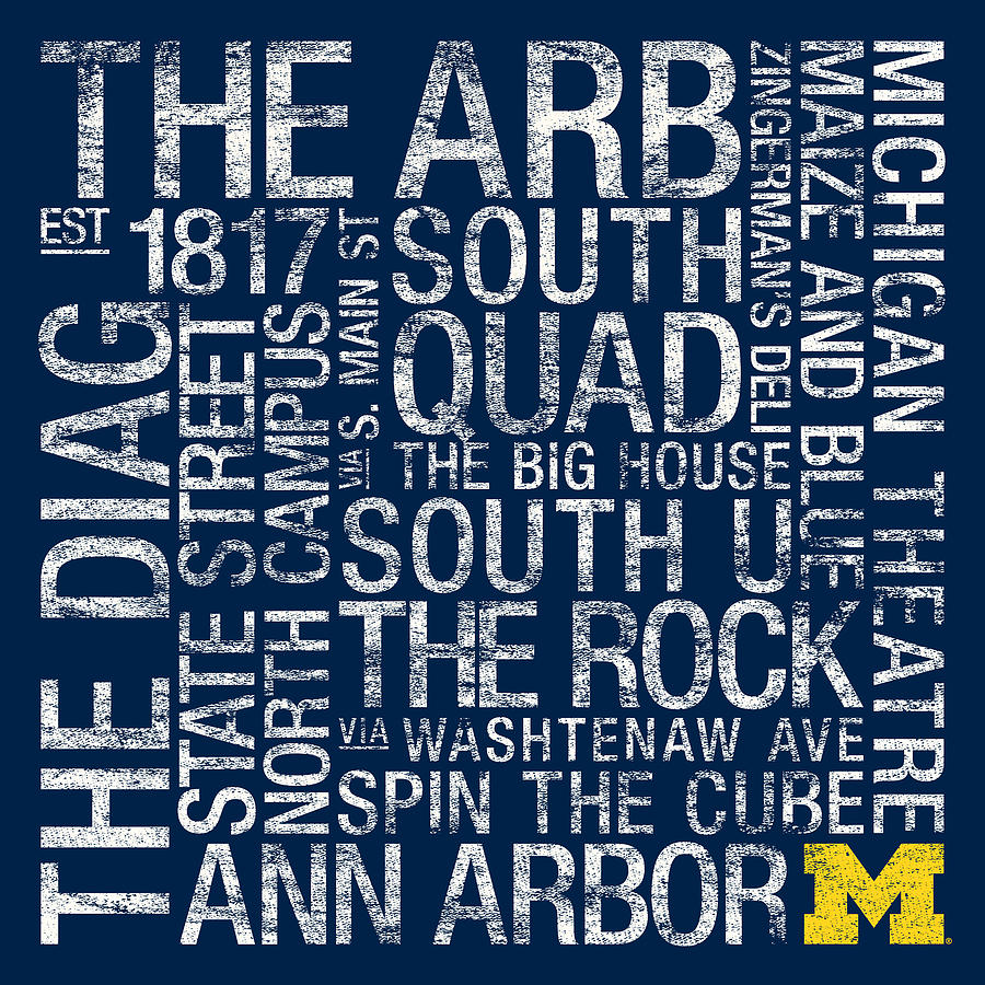 Photo Photograph - Michigan College Colors Subway Art by Replay Photos