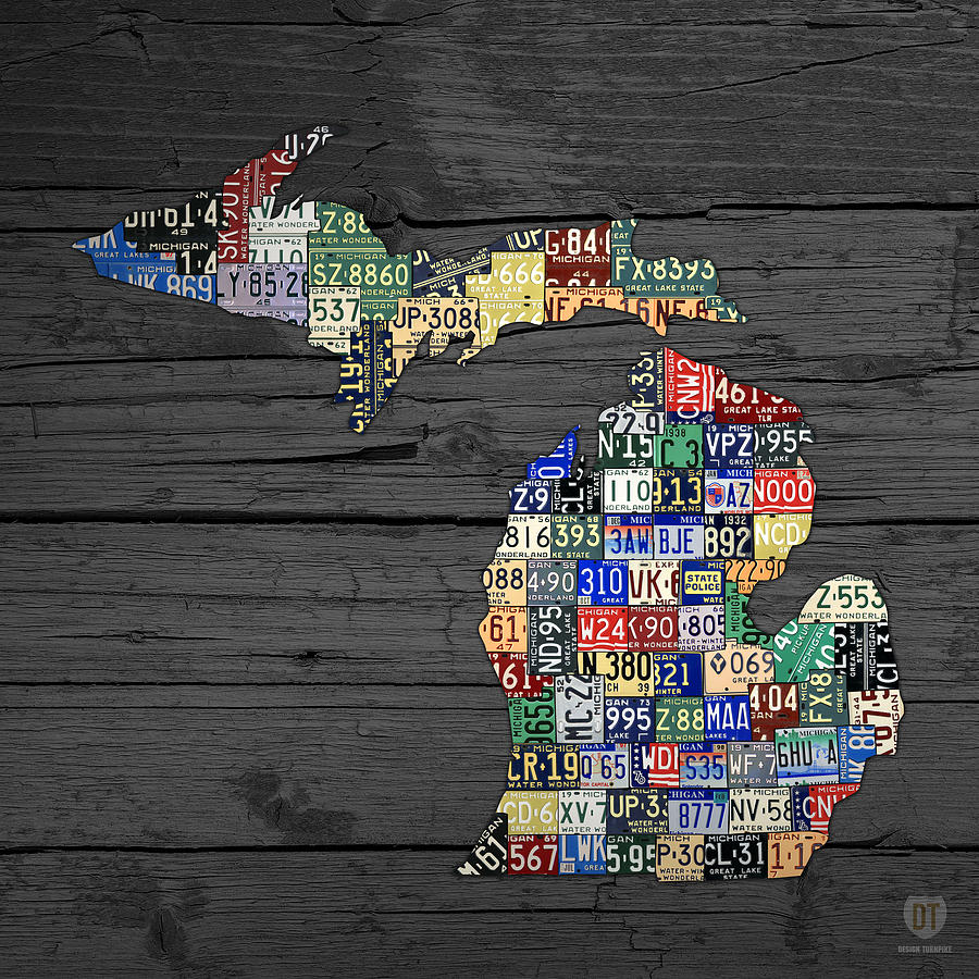 Michigan Counties State License Plate Map On