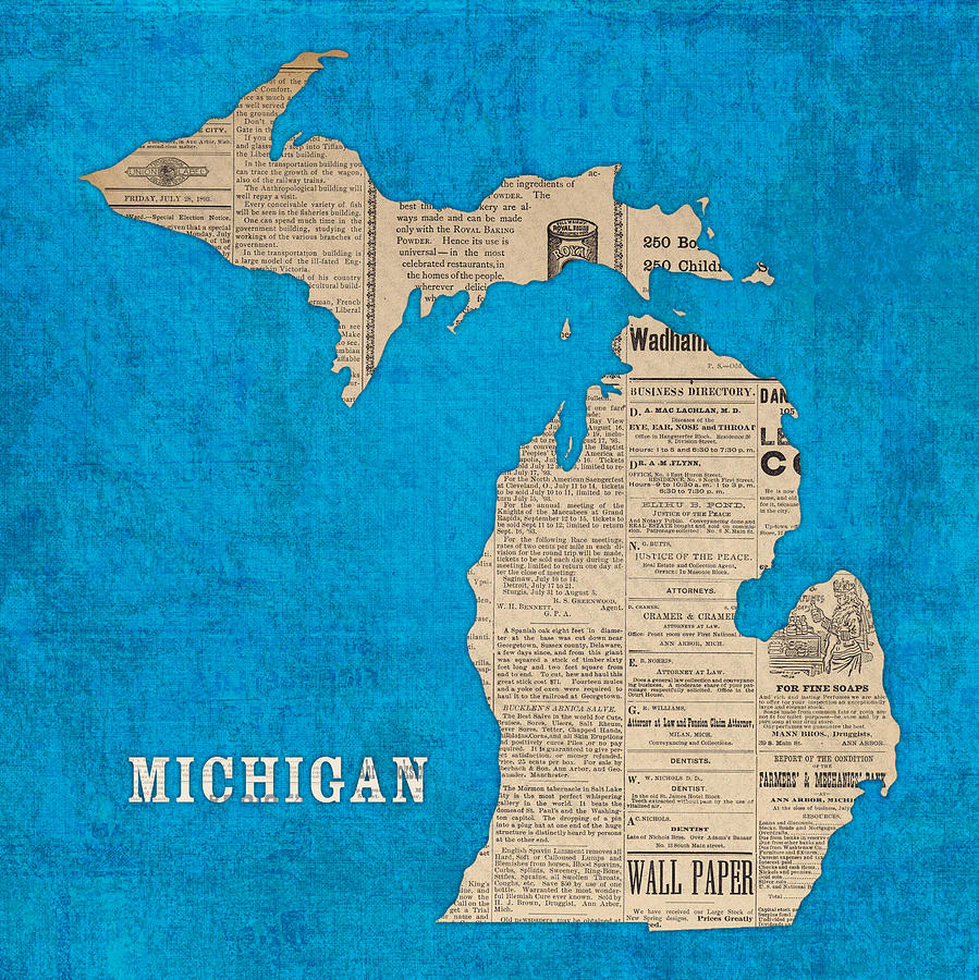 Michigan Map Made Vintage Newspaper Clippings Blue