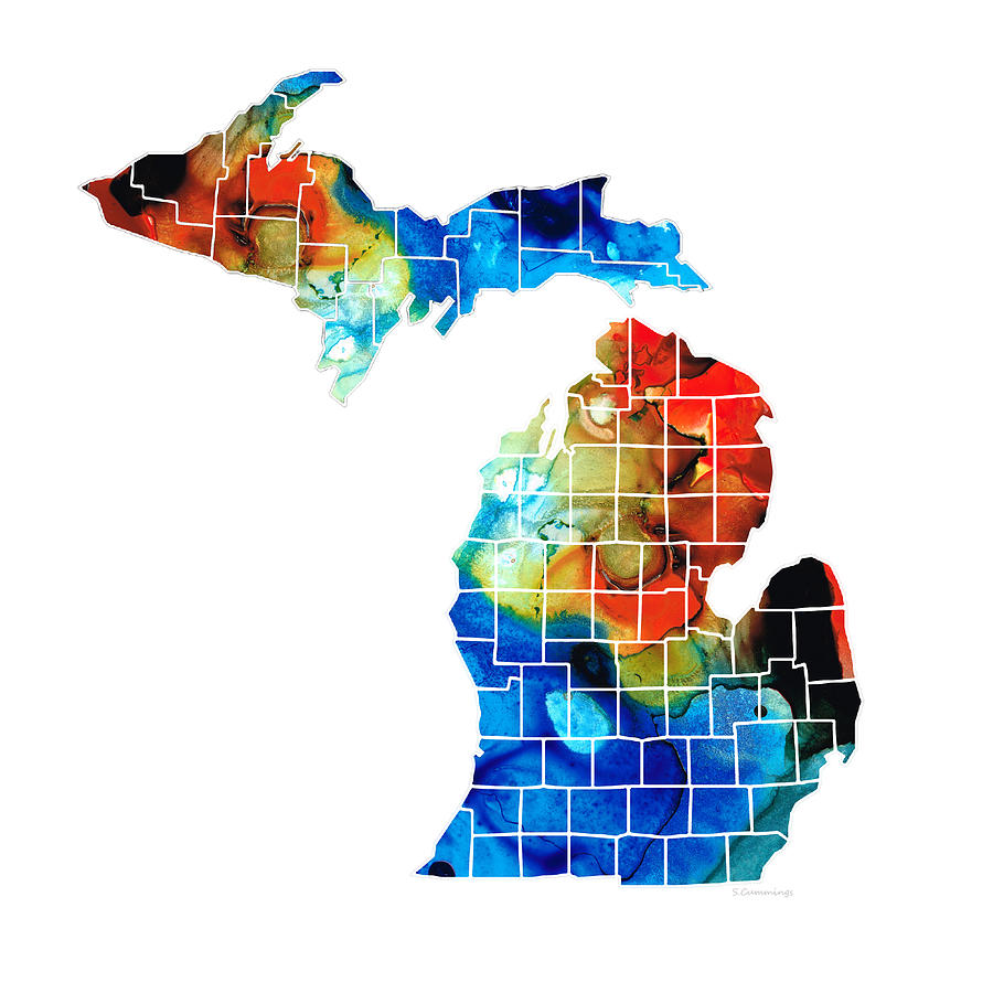 Michigan Painting - Michigan State Map - Counties by Sharon Cummings by Sharon Cummings