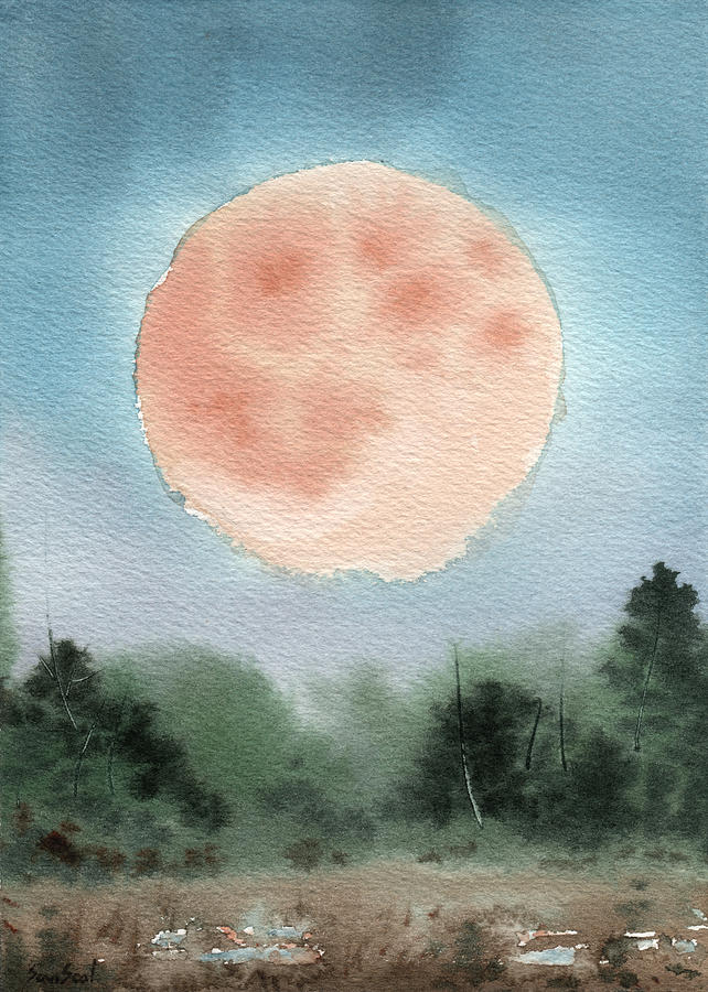 Supermoon Painting - Michigan Supermoon  by Sean Seal