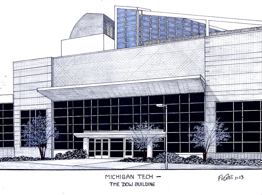 Historic Buildings Drawings Drawing - Michigan Tech by Frederic Kohli