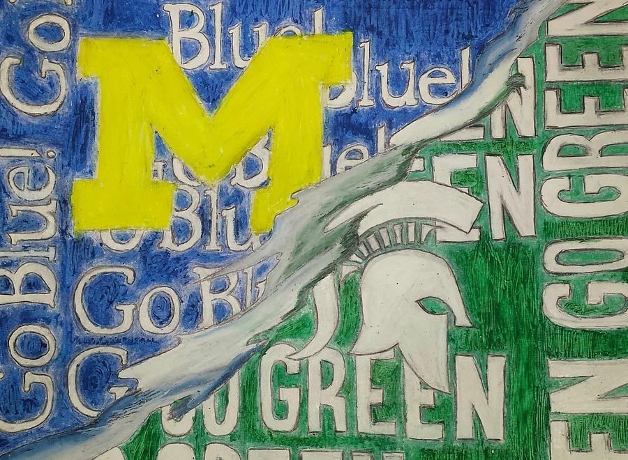 Michigan Vs Michigan State Drawing By Tyrone Scott