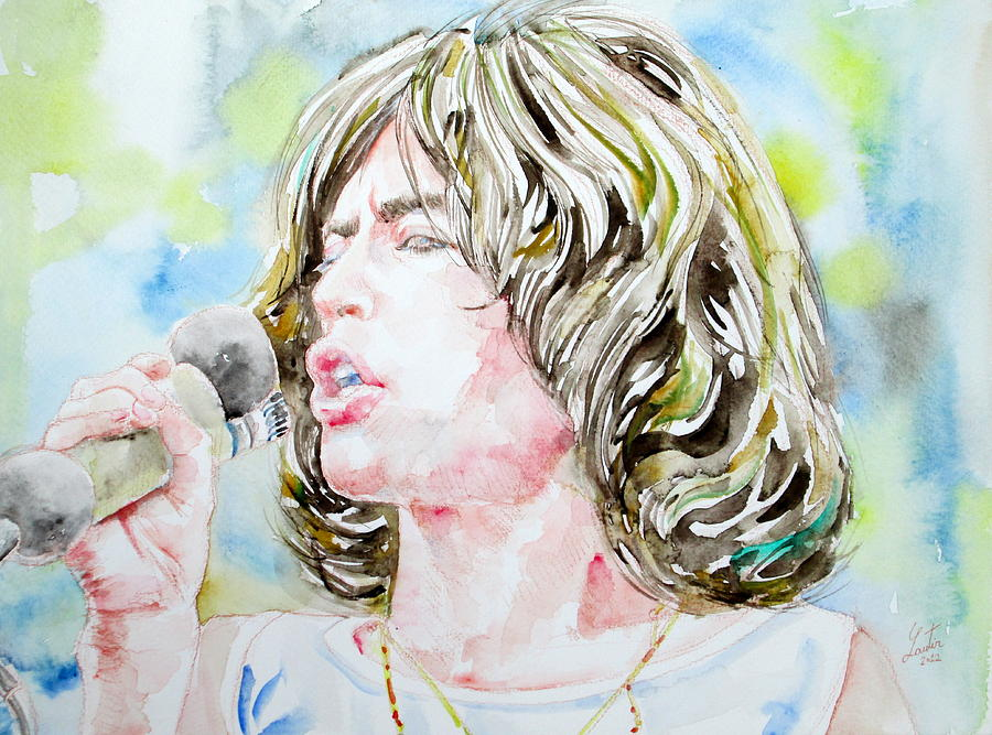 Mick Painting - Mick Jagger Singing Watercolor Portrait by Fabrizio Cassetta