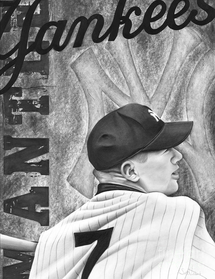 New York Yankees Drawing - Mickey Mantle by Scott  Hubbert