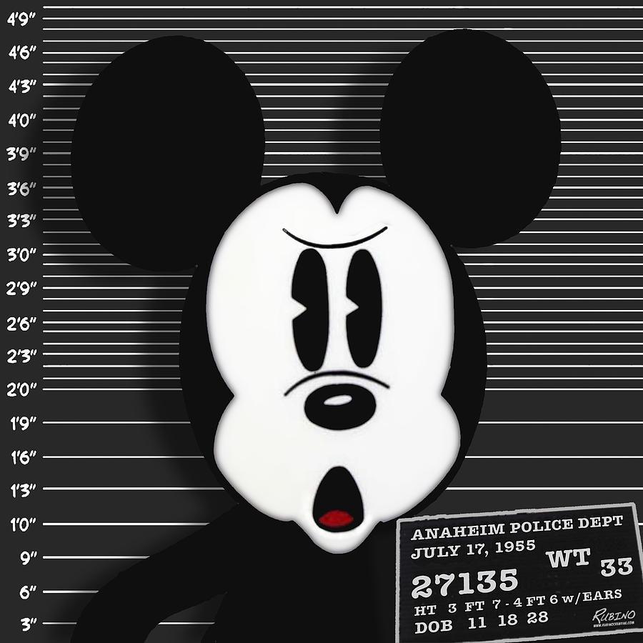 Mickey Mouse Photograph - Mickey Mouse Disney Mug Shot by Tony Rubino