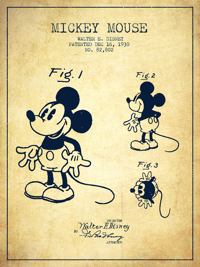 Mickey Mouse Digital Art - Mickey Mouse Patent Drawing From 1930 - Vintage by Aged Pixel