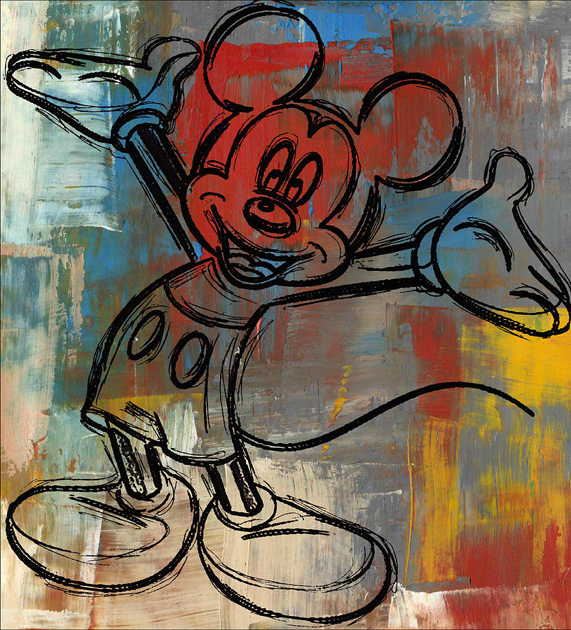 Wright Digital Art - Mickey Mouse Sketchy Hello by Paulette B Wright