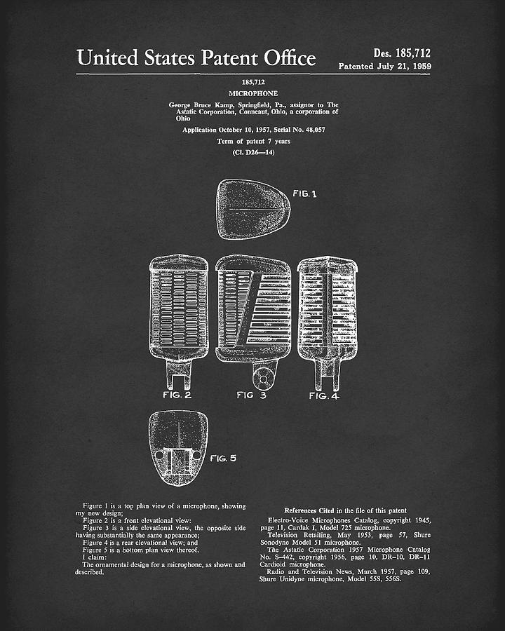Microphone 1959 Patent Art Black by Prior Art Design