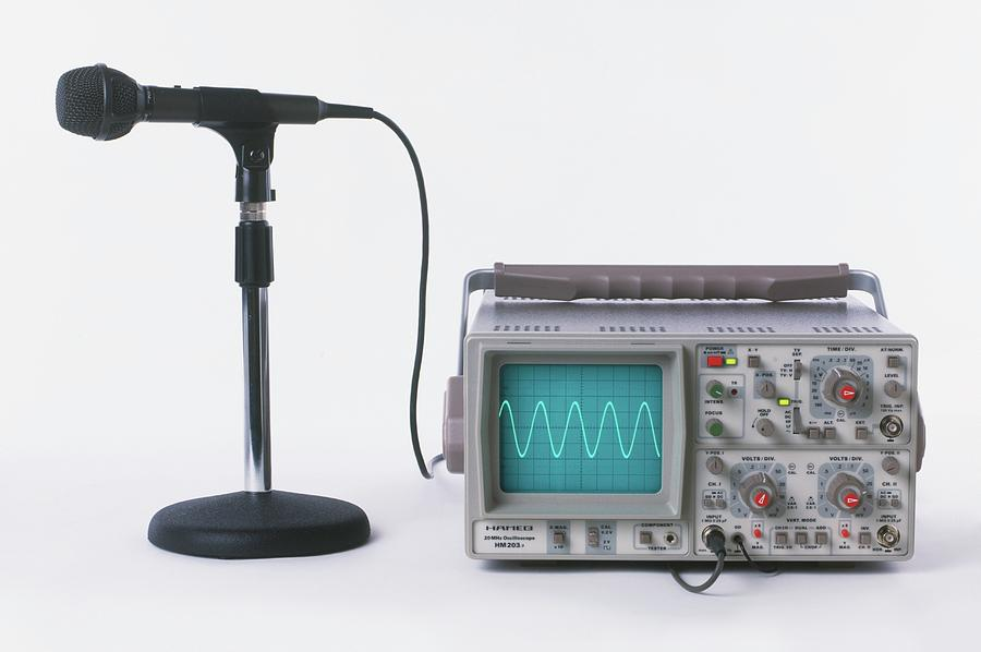 Cro Photograph - Microphone Connected To Oscilloscope by Dorling Kindersley/uig