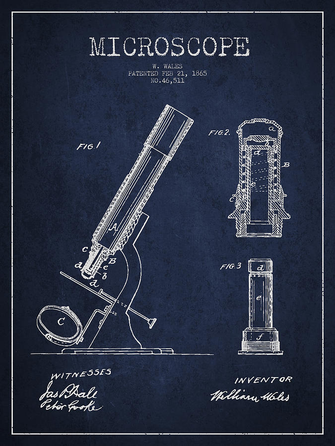 Microscope Digital Art - Microscope Patent Drawing From 1865 - Navy Blue by Aged Pixel