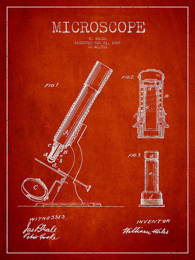 Microscope Digital Art - Microscope Patent Drawing From 1865 - Red by Aged Pixel