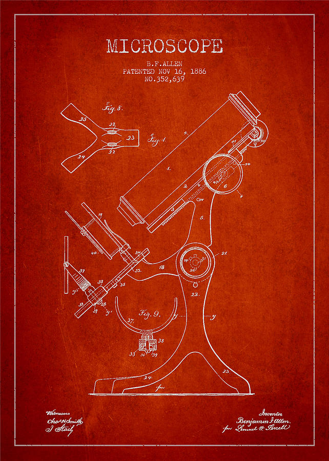 Microscope Digital Art - Microscope Patent Drawing From 1886 - Red by Aged Pixel