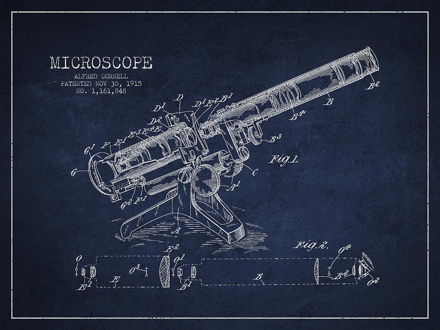 Microscope Digital Art - Microscope Patent Drawing From 1915 by Aged Pixel
