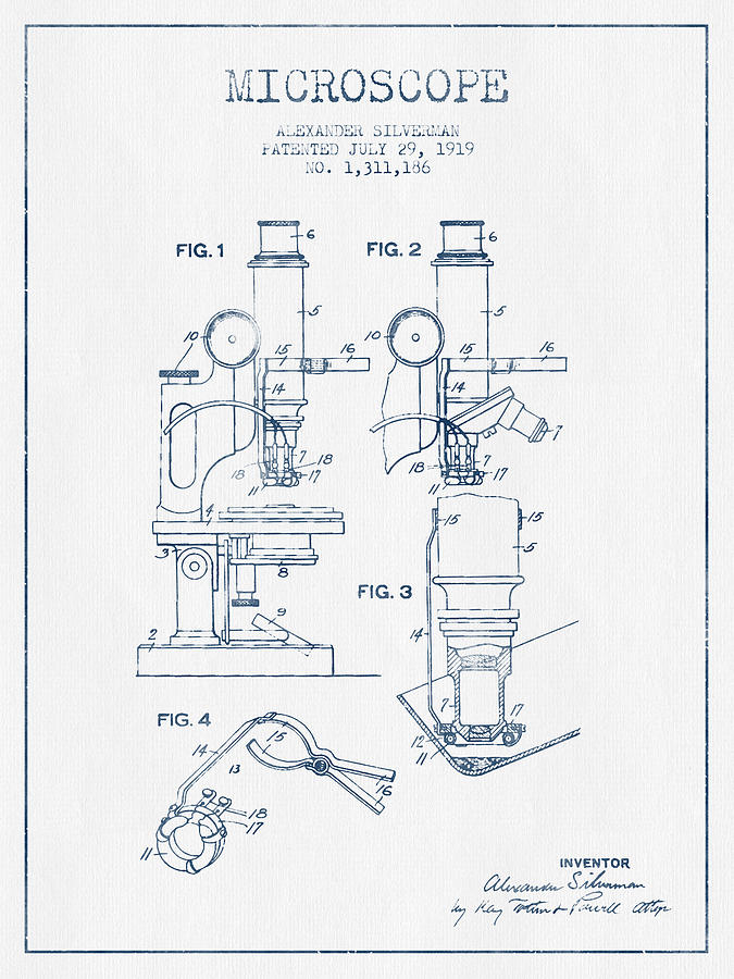 Microscope Digital Art - Microscope Patent Drawing From 1919 - Blue Ink by Aged Pixel
