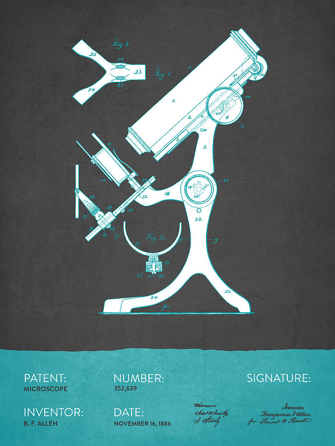 Microscope Digital Art - Microscope Patent From 1886  - Gray Turquoise by Aged Pixel