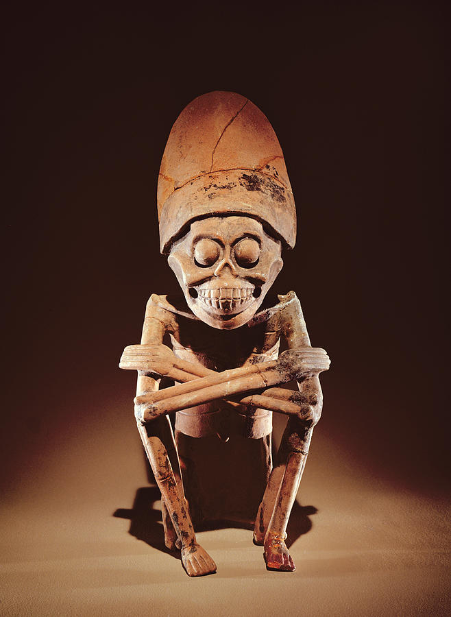 Smiling Photograph - Mictlantecuhtli Lord Of Mictlan Remojadas Style, From Los Cerros, Tierra Blanca, Vera Cruz Pottery by Pre-Columbian