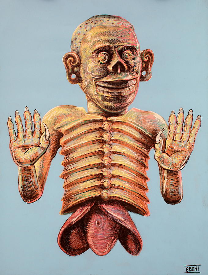 Myth Drawing - Mictlantecuhtli The Aztec God Of The Dead by Brent Andrew Doty