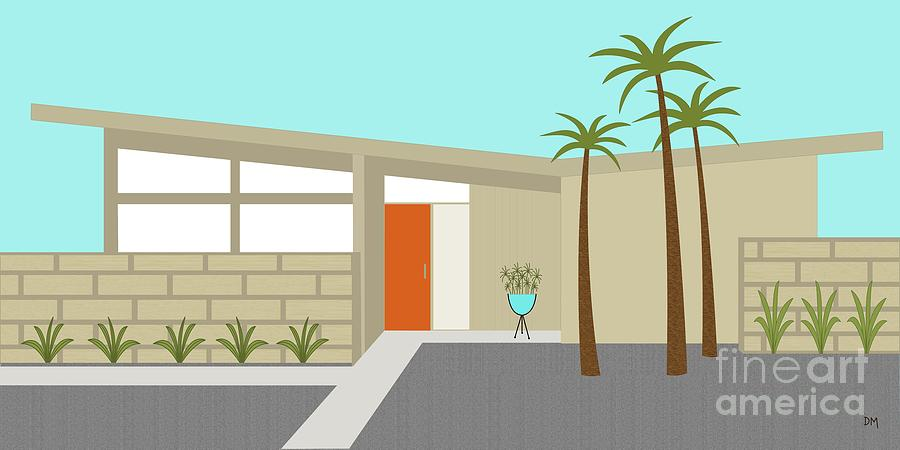 Mid Century Modern House 1 Digital Art By Donna Mibus