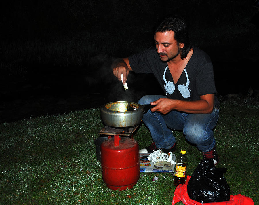 Cooking Photograph - Mid Night Cooking At River Bank by Vijinder Singh