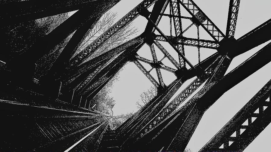 Rockwood Photograph - Mid Span  In Black And White by Daniel Thompson