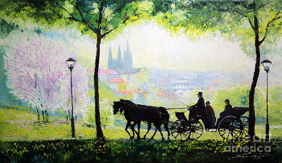 Oil On Canvas Painting - Midday Walk In The Petrin Gardens Prague by Yuriy Shevchuk