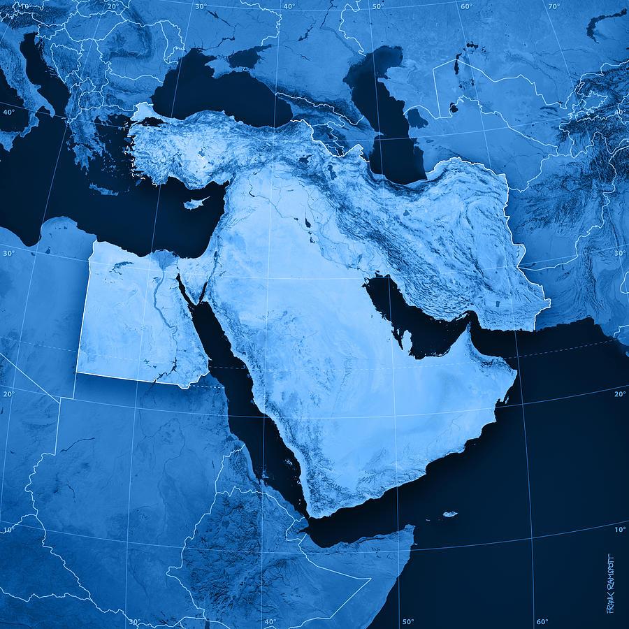 Middle East Topographic Map Digital Art by Frank Ramspott