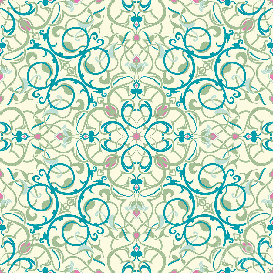 middle eastern inspired seamless tile design mixed media