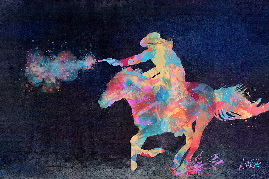 Cowgirl Digital Art - Midnight Cowgirls Ride Heaven Help The Fool Who Did Her Wrong by Nikki Marie Smith