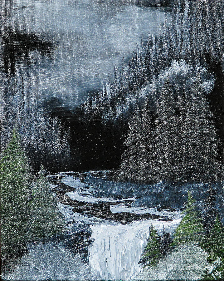 Landscape Painting - Midnight Falls by Dave Atkins