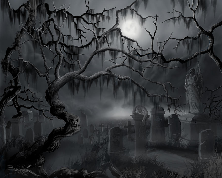 Landscape Painting - Midnight In The Graveyard  by James Christopher Hill