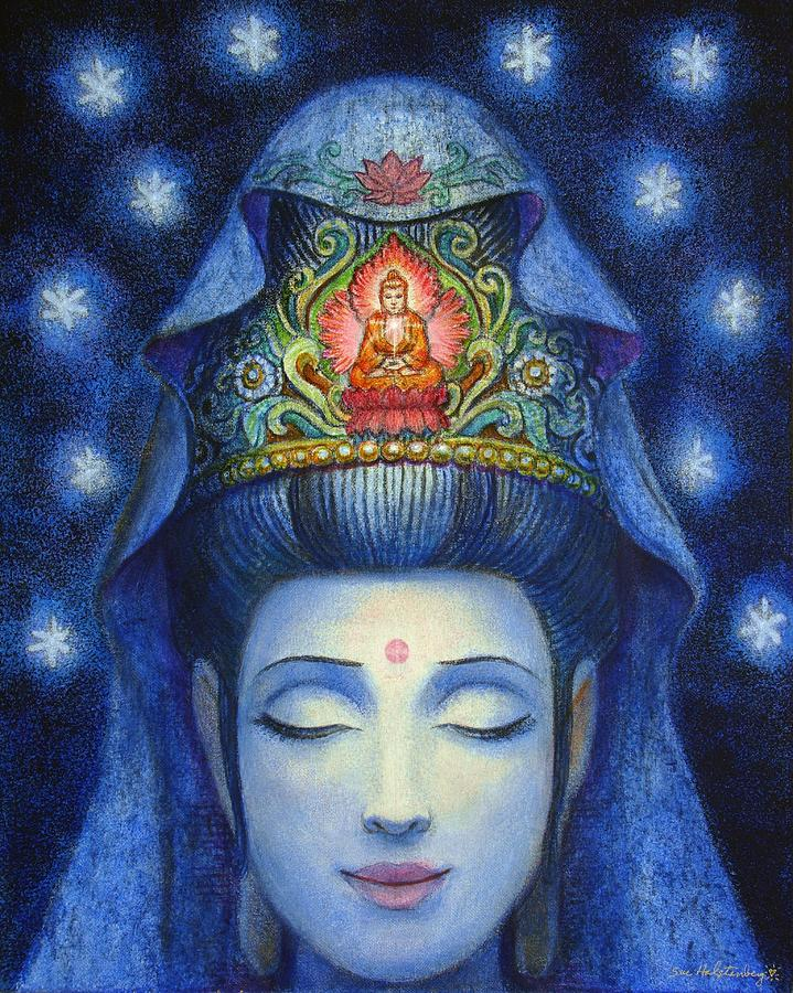 Kuan Yin Painting - Midnight Meditation Kuan Yin by Sue Halstenberg