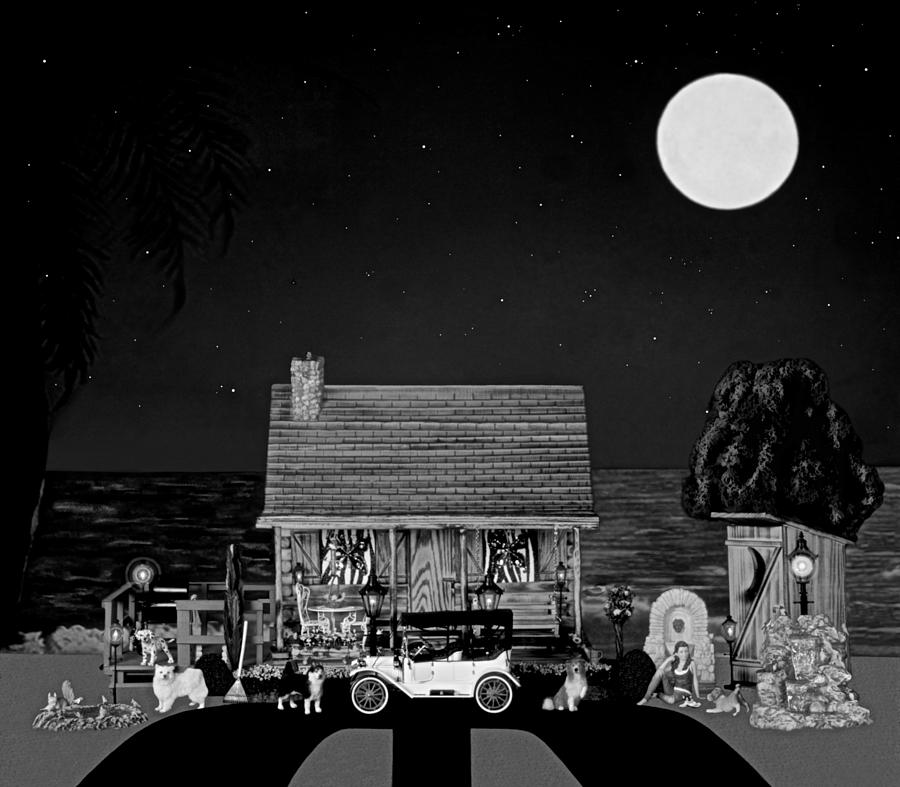 Log Cabins Photograph - Midnight Near The Sea In Black And White by Leslie Crotty