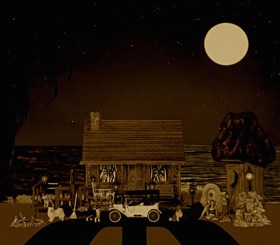 Log Cabins Photograph - Midnight Near The Sea In Sepia Color by Leslie Crotty