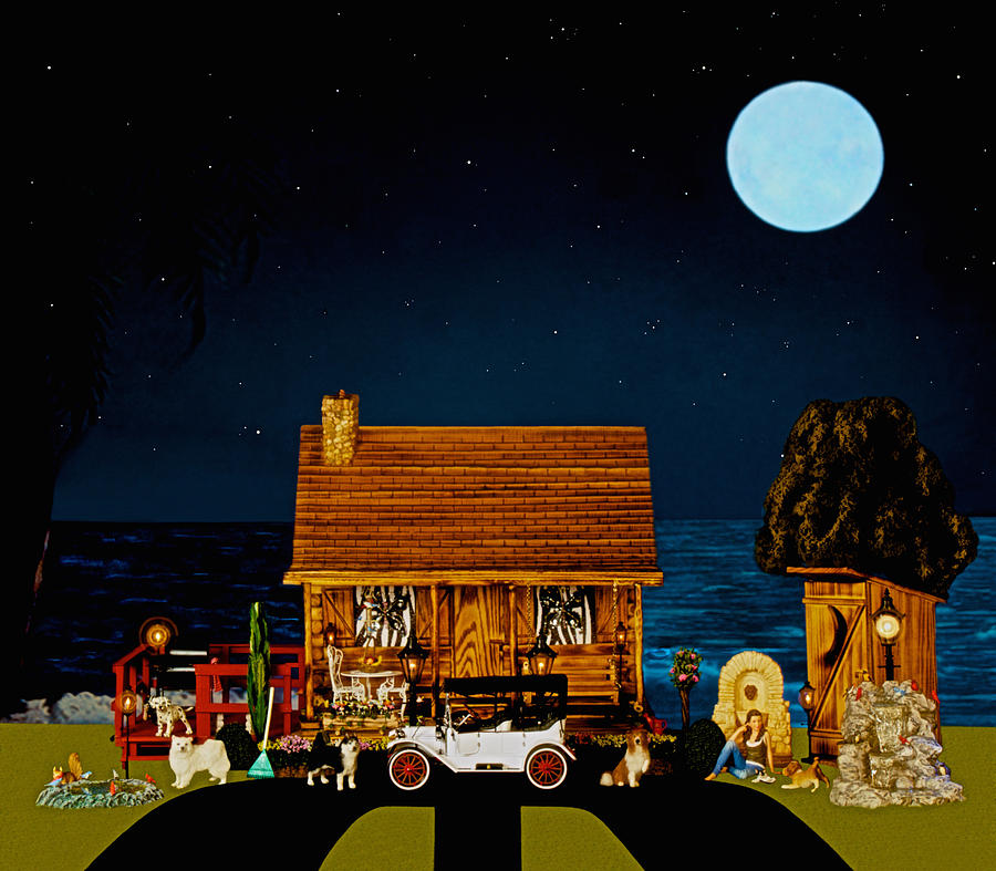 Log Cabins Photograph - Midnight Near The Sea In Color by Leslie Crotty