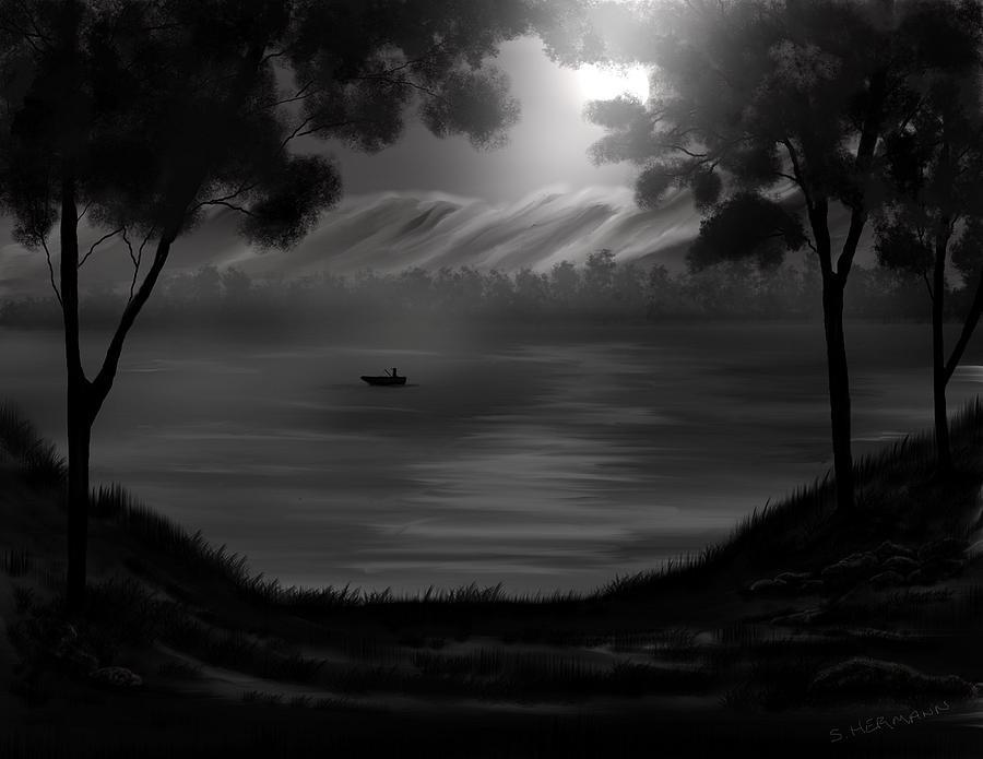 Digital Digital Art - Midnight On The Lake by Steve Hermann